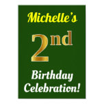 [ Thumbnail: Green, Faux Gold 2nd Birthday Celebration + Name Invitation ]