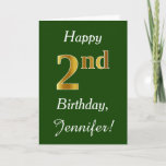 [ Thumbnail: Green, Faux Gold 2nd Birthday + Custom Name Card ]