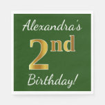 [ Thumbnail: Green, Faux Gold 2nd Birthday + Custom Name Paper Napkin ]