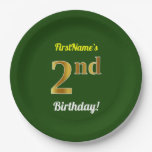 [ Thumbnail: Green, Faux Gold 2nd Birthday + Custom Name Paper Plate ]