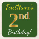 [ Thumbnail: Green, Faux Gold 2nd Birthday + Custom Name Paper Coaster ]