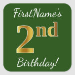 [ Thumbnail: Green, Faux Gold 2nd Birthday + Custom Name Sticker ]