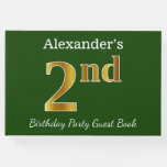 [ Thumbnail: Green, Faux Gold 2nd Birthday Party + Custom Name Guest Book ]