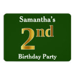 [ Thumbnail: Green, Faux Gold 2nd Birthday Party + Custom Name Invitation ]