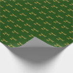 Hand shaped Green, Faux Gold 2nd (Second) Event   Custom Names Wrapping Paper
