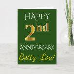 [ Thumbnail: Green, Faux Gold 2nd Wedding Anniversary + Name Card ]