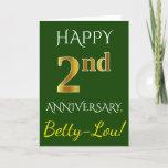 [ Thumbnail: Green, Faux Gold 2nd Wedding Anniversary + Name Card ]