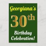 [ Thumbnail: Green, Faux Gold 30th Birthday Celebration + Name Invitation ]