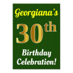 [ Thumbnail: Green, Faux Gold 30th Birthday Celebration + Name Invitation ]