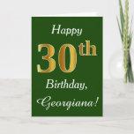 [ Thumbnail: Green, Faux Gold 30th Birthday + Custom Name Card ]