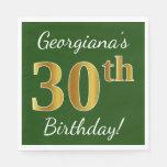 [ Thumbnail: Green, Faux Gold 30th Birthday + Custom Name Napkin ]