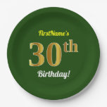 [ Thumbnail: Green, Faux Gold 30th Birthday + Custom Name Paper Plate ]