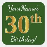 [ Thumbnail: Green, Faux Gold 30th Birthday + Custom Name Sticker ]