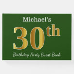[ Thumbnail: Green, Faux Gold 30th Birthday Party + Custom Name Guest Book ]