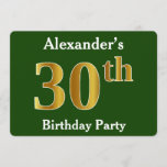 [ Thumbnail: Green, Faux Gold 30th Birthday Party + Custom Name Invitation ]