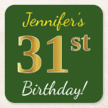 [ Thumbnail: Green, Faux Gold 31st Birthday + Custom Name Paper Coaster ]