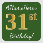 [ Thumbnail: Green, Faux Gold 31st Birthday + Custom Name Sticker ]