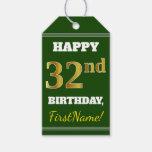 [ Thumbnail: Green, Faux Gold 32nd Birthday + Custom Name Gift Tags ]