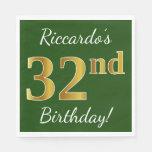 [ Thumbnail: Green, Faux Gold 32nd Birthday + Custom Name Napkin ]