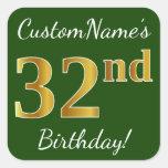 [ Thumbnail: Green, Faux Gold 32nd Birthday + Custom Name Sticker ]