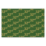 [ Thumbnail: Green, Faux Gold 32nd (Thirty-Second) Event Tissue Paper ]