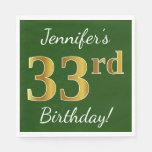 [ Thumbnail: Green, Faux Gold 33rd Birthday + Custom Name Napkin ]