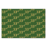 [ Thumbnail: Green, Faux Gold 33rd (Thirty-Third) Event Tissue Paper ]
