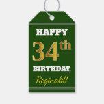 [ Thumbnail: Green, Faux Gold 34th Birthday + Custom Name Gift Tags ]