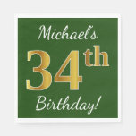 [ Thumbnail: Green, Faux Gold 34th Birthday + Custom Name Napkin ]