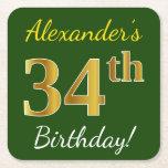 [ Thumbnail: Green, Faux Gold 34th Birthday + Custom Name Paper Coaster ]