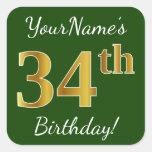[ Thumbnail: Green, Faux Gold 34th Birthday + Custom Name Sticker ]
