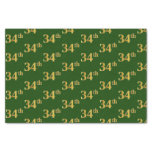 [ Thumbnail: Green, Faux Gold 34th (Thirty-Fourth) Event Tissue Paper ]