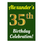 [ Thumbnail: Green, Faux Gold 35th Birthday Celebration + Name Invitation ]