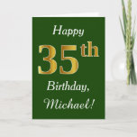 [ Thumbnail: Green, Faux Gold 35th Birthday + Custom Name Card ]