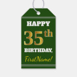 [ Thumbnail: Green, Faux Gold 35th Birthday + Custom Name Gift Tags ]