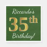 [ Thumbnail: Green, Faux Gold 35th Birthday + Custom Name Paper Napkin ]