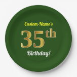 [ Thumbnail: Green, Faux Gold 35th Birthday + Custom Name Paper Plate ]
