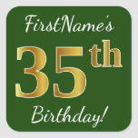 [ Thumbnail: Green, Faux Gold 35th Birthday + Custom Name Sticker ]