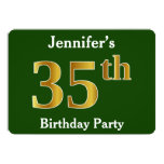 [ Thumbnail: Green, Faux Gold 35th Birthday Party + Custom Name Invitation ]
