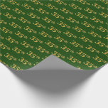[ Thumbnail: Green, Faux Gold 35th (Thirty-Fifth) Event Wrapping Paper ]