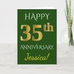 [ Thumbnail: Green, Faux Gold 35th Wedding Anniversary + Name Card ]