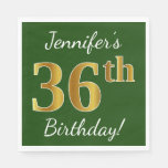 [ Thumbnail: Green, Faux Gold 36th Birthday + Custom Name Napkin ]