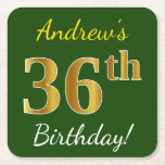 [ Thumbnail: Green, Faux Gold 36th Birthday + Custom Name Paper Coaster ]