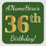 [ Thumbnail: Green, Faux Gold 36th Birthday + Custom Name Sticker ]