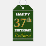 [ Thumbnail: Green, Faux Gold 37th Birthday + Custom Name Gift Tags ]