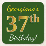 [ Thumbnail: Green, Faux Gold 37th Birthday + Custom Name Paper Coaster ]
