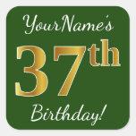 [ Thumbnail: Green, Faux Gold 37th Birthday + Custom Name Sticker ]