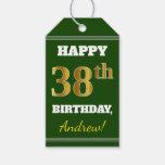[ Thumbnail: Green, Faux Gold 38th Birthday + Custom Name Gift Tags ]