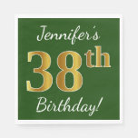 [ Thumbnail: Green, Faux Gold 38th Birthday + Custom Name Napkin ]