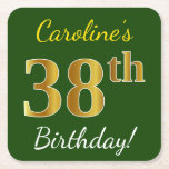 [ Thumbnail: Green, Faux Gold 38th Birthday + Custom Name Paper Coaster ]